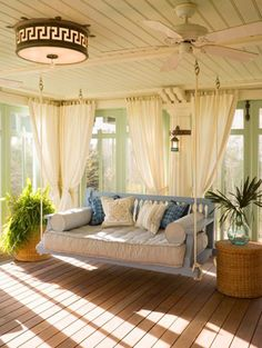 Link to full-size picture: Full size is 800 × 1062 pixels- Cozy Sunroom With A Hanging Sofa at Awesome Sunroom Design Ideas