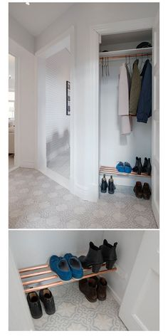 Closet with a small show rack Diy Shoe Rack, House Entrance, New Homes, Flooring, Organization Ideas, Entryway, Stairs, Closet, Rooms