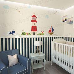 Adesivo de Parede Infantil e Bebê Marinheiro (fácil instalação, lavável)