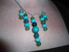 Handmade unique 18.5 in Necklace: Fancy Jasper, Jade, Reconstituted Turquoise Stone and Turquoise Wood Beads w/ Sterling Silver Clasp