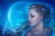 Девушка с голубой заколкой в волосах и голубая Луна