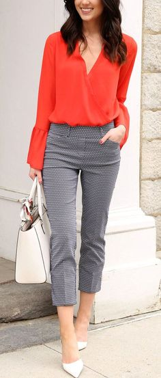#winter #outfits orange surplice long-sleeved shirt, grey capri pants, white pointed-toe sandals, and white leather handbag outfit