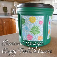 Creative Uses for Empty Food Containers. Folgers has free printable labels to decorate your empty coffee cans!