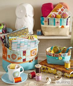 Patchwork fabric boxes by @©bagladee™ From issue 2 of Love Patchwork & Quilting magazine - buy a copy or subscribe for fab savings here http://www.myfavouritemagazines.co.uk/stitch-craft/love-patchwork-and-quilting-magazine-subscription/  https://www.facebook.com/lovepatchworkandquilting