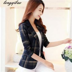 Price-26$    New Korean autumn and a buckle small suit jacket female commuter classic British plaid long-sleeved TB7413