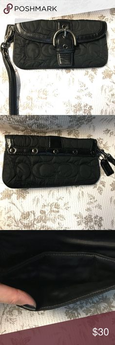 Coach wristlet 💜 Small coach wristlet. Black quilted material. Magnetic snap closure. Gently used. No rips or tears. Bundle 2 & save 10%! Make me an offer!! Coach Bags Clutches & Wristlets