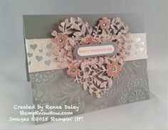 OnStage Sneak Peek shows off the gorgeous new Bloomin' Heart Thinlits Die from Stampin' UP!'s new 2016 occasions catalog. Stampin Up Karten, Karten Diy, Wedding Anniversary Cards, Wedding Cards, Valentine Love Cards, Valentines, Bloomin Love Stampin Up, Stamping Up Cards, Heart Cards