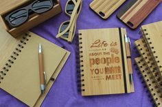 Life begins at the end of your comfort zone - bamboo notebook-woodgeek. LIFE BEGINS AT THE END OF YOUR COMFORT ZONE. Take a risk, leave your nest and life will reward you. An engraved bamboo notebook for those who believe in taking a leap of faith into the unknown.