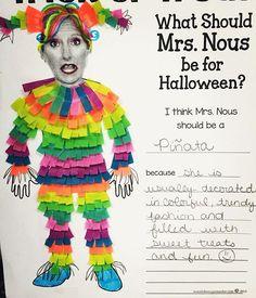 When you design a Halloween costume for your principal!  Washi Tape to the rescue! #teacherlife #teachersfollowteachers