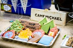 Boy's Camping BIrthday Party Sugar Cookie Ideas