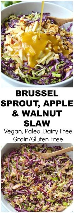 A delicious crunchy slaw of brussel sprouts, red cabbage, apples and walnuts topped with honey mustard dressing (Vegan, Paleo, Grain/Gluten Free, SCD, DF)