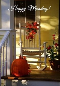 Sweet and simple fall porch Happy Fall Y'all, Happy Monday, Monday Monday, Happy Weekend, Happy Saturday, Monday Greetings, Monday Wishes, Monday Blessings, Morning Greeting