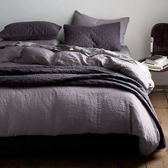 Garment-Dyed Linen Bedding Collection - Beautiful garment-dyed, pre-washed linen is lightweight and season-less — not to mention utterly gor...