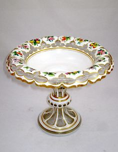 Antique Bohemian White Overlay Glass Centerpiece Decorated With Hand Painted Fruit And Flowers  c.19th Century