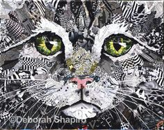 Kitty A black and white cat face collage art from bits of magazines by Deborah Shapiro. Fine art prints for sale.A black and white cat face collage art from bits of magazines by Deborah Shapiro. Fine art prints for sale. Collage Kunst, Paper Collage Art, Collage Artists, Paper Art, Collage Walls, Face Collage, Animal Quilts, Animal Faces, Magazine Art
