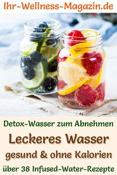 Infused Water - 40 Recipes for Detox Was . - Non-alcoholic recipes for detox water for weight loss – Infused water is healthy, has almost no c - Detox Water To Lose Weight, Detox Cleanse For Weight Loss, Weight Loss Water, Cleanse Detox, Healthy Diet Tips, Healthy Detox, Diet And Nutrition, Easy Detox, Infused Water Recipes