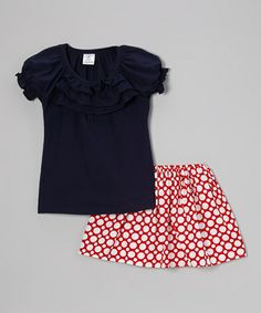 Look at this #zulilyfind! Navy Ruffle Tee & Red Polka Dot Skirt - Toddler & Girls by Annapolis Brand #zulilyfinds
