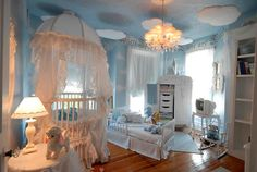 Luxury Baby Nursery Room With Marvelous Ceiling Decoration