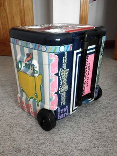 Make a painted cooler for wedding gift and DON'T FORGET TO FILL IT WITH FAVORITE WINE AND BEER.. Oh and maybe some treats