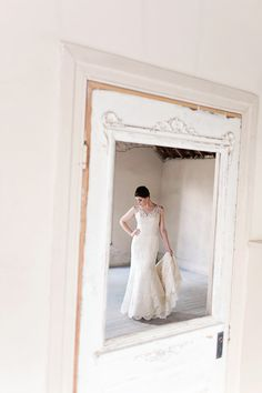 Sharon fuses a vintage, rustic wedding together wearing a lace wedding dress by MOONLIGHT Couture.