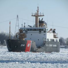 The U.S. Coast Guard Hollyhock moving up the St. Clair River breaking up the ice