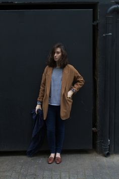 coat + striped shirt + skinnys