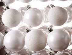«Набор пластиковых однотонных шаров ПРАЗДНИЧНЫЙ СТИЛЬ белоснежный (глянцевые, матовые, глиттер), 42 шт., KAEMINGK»