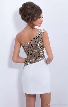 Cream / White Backless Sequin Bodycon Dress - £34.99 : Bodycon
