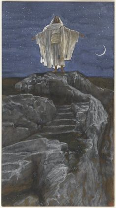 James Tissot - Jesus Goes Up Alone onto a Mountain to Pray, The Life of Our Lord Jesus Christ, Art Print. Explore our collection of James Tissot fine art prints, giclees, posters and hand crafted canvas products Bible Pictures, Jesus Pictures, Catholic Art, Religious Art, Alone, Christian Artwork, Christian Posters, Christian Wallpaper, Jesus Christus