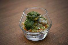 Cherne ao forno acompanhado de quinoa com legumes em brunoise e molho pesto| Menu Ferradurinha [ Arte Búzios Gastronomia ]