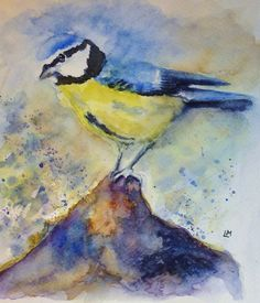 Blue Tit Mound  Watercolour by Laura Moore