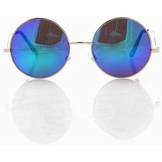 Pink Ice Chromatic Round Sunglasses ($13) ❤ liked on Polyvore featuring accessories, eyewear, sunglasses, blue, blue glasses, round sunglasses, retro glasses, colorful sunglasses and pink lens sunglasses