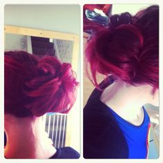 Messy Bun using sock!  get a sock cut the end off scrunch it up into a doughnut type shape, then when yours hairs in a ponytail thread the sock through and roll it down towards your head and pin it underneath the roll!  Love It!<3