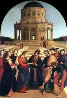 This Christian scene depicts the story of the Virgin Mary receiving the marriage ring from Saint Joseph.  This scene has been in many paintings throughout Art History and is depicted here beautifully by Raphael.  The late 1400′s was the advent of perspective in art giving the scene a more natural scene then any of its predecessors.  As we see many parallels of tradition throughout history, the wedding ceremony still revolves around the ring.  The placing of the wedding ring on the husband...