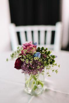Simple floral table arrangements
