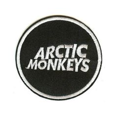 Arctic Monkeys Iron-On Patch Round Letters Logo ❤ liked on Polyvore featuring fillers, patches, accessories, black, black fillers and magazine