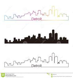 detroit-skyline-linear-style-rainbow-file-38930434.jpg (1300×1390)