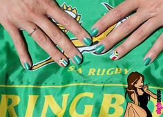 I might try this for the next SA rugby game I watch with ali ! Healthy Eating For Kids, Kids Diet, Gel Nail Polish Colors, Gel Nails, Rugby Games, South African Flag, Flag Nails, African Life, Nail Art Videos
