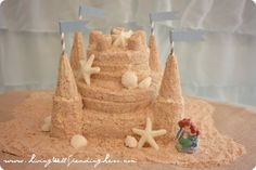 Mermaid party ideas: Sand Castle Cake by Living Well Spending Less