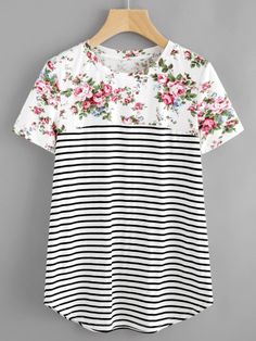 SheIn offers Mixed Print Curved Hem Tee & more to fit your fashionable needs. SheIn offers Mixed Print Curved Hem Tee & more to fit your fashionable needs. Modest Fashion, Women's Fashion Dresses, Mélanger Les Impressions, Look Fashion, Womens Fashion, Fashion Tips, Cheap Fashion, Fashion Brands, High Fashion