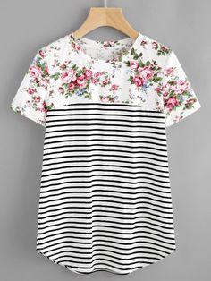 Camiseta con estampado y bajo redondeado
