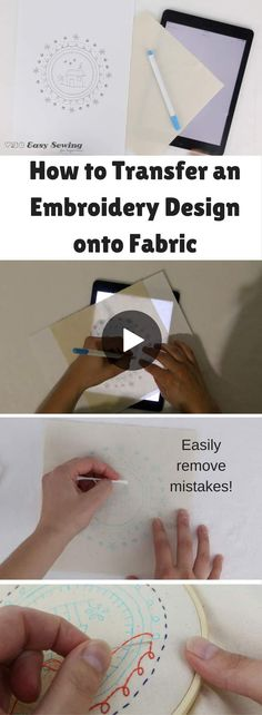 How to Transfer an Embroidery Design onto Fabric video tutorial - Method 1