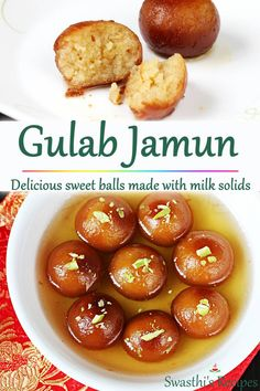 Love Gulab jamun? A easy recipe to make soft, delicious and melt-in-the-mouth dessert made with milk solids, sugar and cardamoms. #indian #sweet #diwali #gulabjamun Indian Desserts, Indian Food Recipes, Healthy Dinner Recipes, Vegetarian Recipes, Indian Sweets, Healthy Food, Indian Foods, Yogurt Recipes, Milk Recipes