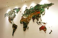 giant world map made from recycled computer parts from bookofjoe
