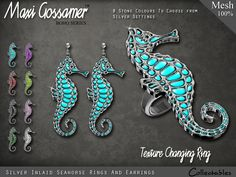 Maxi Gossamer Rings and Earrings - Silver Inlaid Seahorse