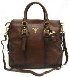 5bf985652492 New Prada Real Leather tote shoulder Handbag brown bag