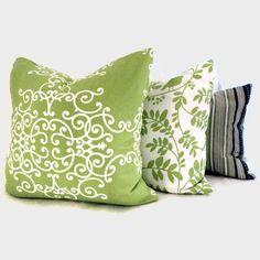 Lime Green and White ScrollsRobert Allen Pillow Cover White Pillow Covers, White Pillows, Sofa Pillows, Throw Pillows, Lime Green Decor, 1960s House, Blue Lounge, Ballard Designs, Studio Ideas