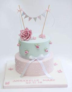 Baby Girl Birthday Cake, Baby Girl Cakes, Cute Birthday Cakes, Gateau Baby Shower, Baby Shower Cakes, Fondant Cakes, Cupcake Cakes, Cumpleaños Shabby Chic, Bolo Floral