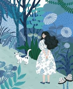 Korean Illustration, Illustration Art, Flower Sketches, Painting Of Girl, Summer Prints, Art Background, Viera, Mixed Media Art, Shades Of Blue