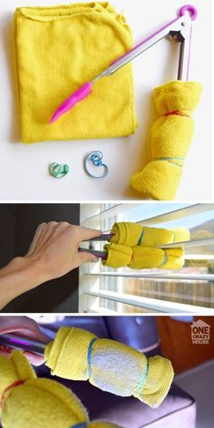 Dust every individual blind on your window treatments, using this handy tongs trick to make it go quickly. | 31 Little Things You've Probably Forgotten You Need To Clean